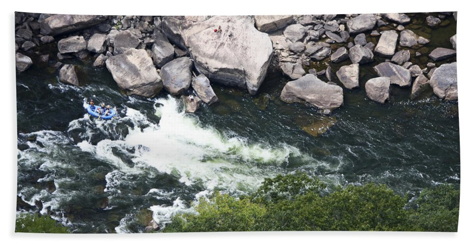 Bridgewalk Hand Towel featuring the photograph Rafters On The New River 2 by Teresa Mucha