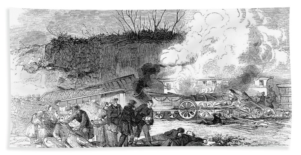 1853 Hand Towel featuring the photograph Railroad Accident, 1853 by Granger