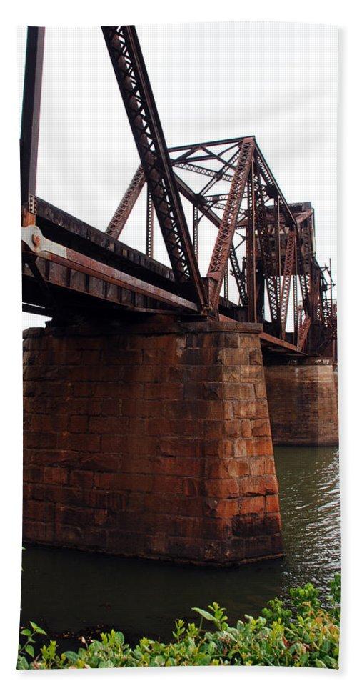 Water Bath Sheet featuring the photograph Railroad Bridge 1 by Kay Lovingood