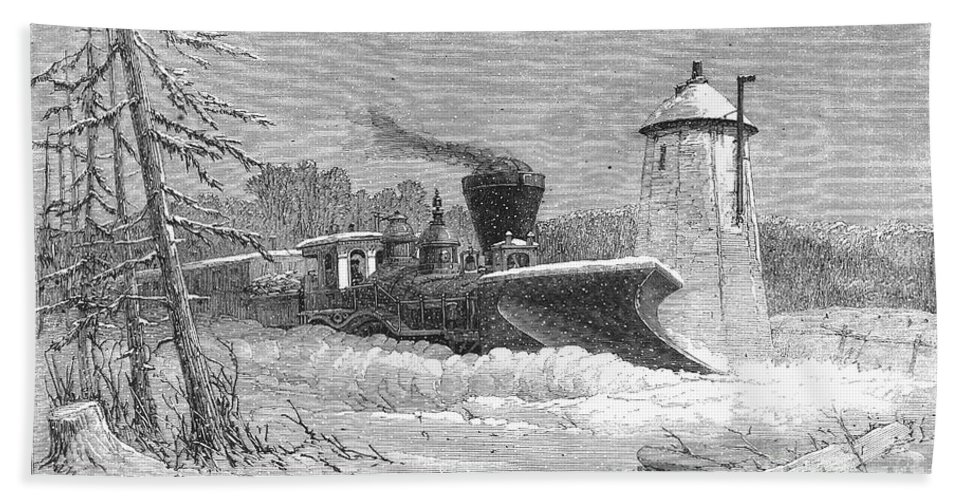 1862 Hand Towel featuring the photograph Railway Snow Plough, 1862 by Granger