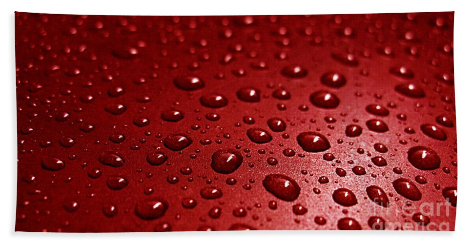 Bubble Hand Towel featuring the photograph Rain Drops Bloody Red by Ausra Huntington nee Paulauskaite