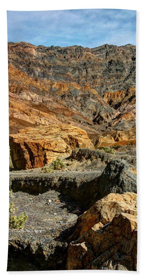 Rainbow Canyon Death Valley Bath Sheet featuring the photograph Rainbow Canyon Death Valley by Chris Brannen