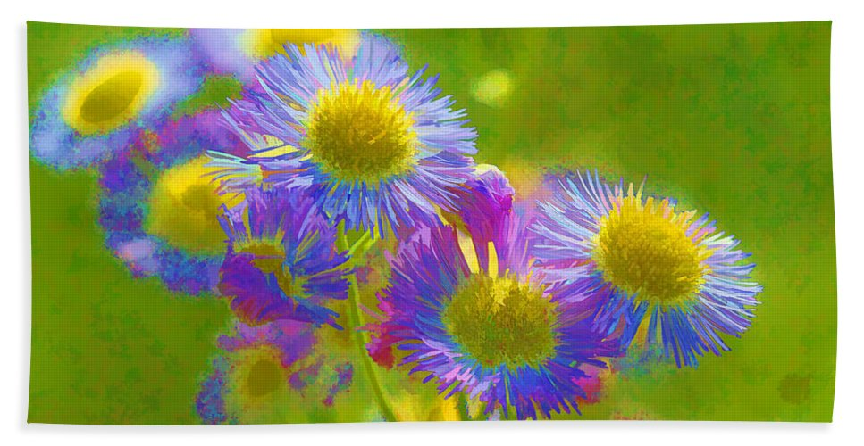 Weeds Bath Sheet featuring the photograph Rainbow Colored Weed Daisies by Kathy Clark