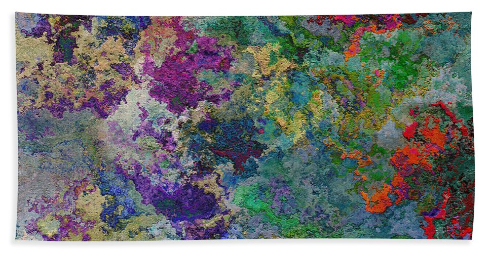 Abstract Bath Sheet featuring the digital art Rainbow Fish Watercolor Abstract Art by Debbie Portwood