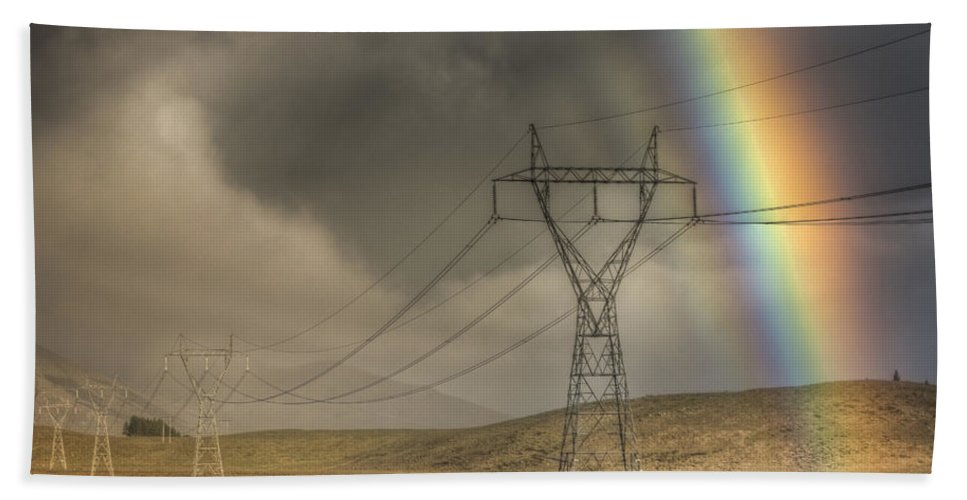 Hhh Hand Towel featuring the photograph Rainbow Forms Over Powerlines by Colin Monteath