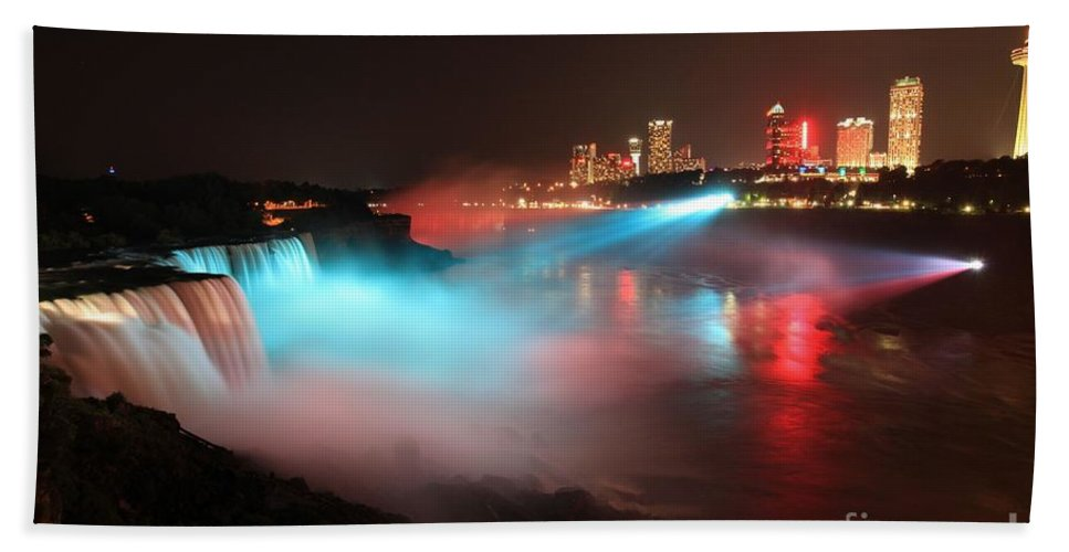 Niagara Falls Hand Towel featuring the photograph Rainbow Mist by Adam Jewell