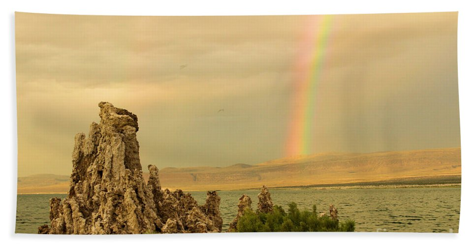 Mono Lake Hand Towel featuring the photograph Rainbow Over Mono Lake by Adam Jewell