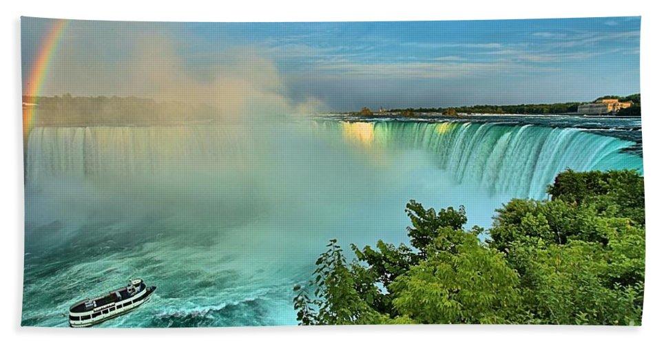 Niagara Falls Hand Towel featuring the photograph Rainbow Over Niagara by Adam Jewell