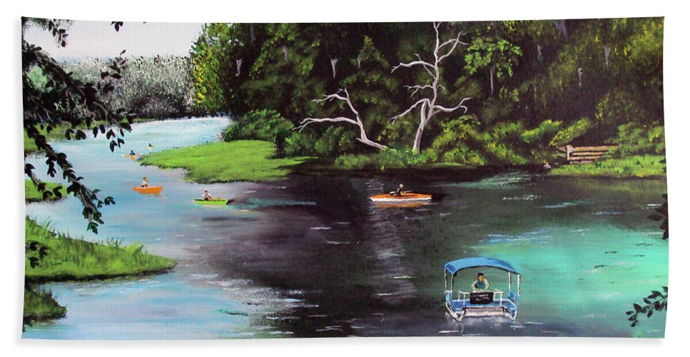Rainbow Springs Bath Sheet featuring the painting Rainbow Springs In Florida by Luis F Rodriguez