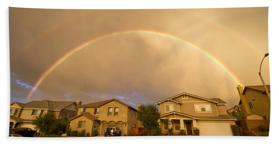 Rainbows Bath Sheet featuring the photograph Rainbows Over Suburbia 1 by Jessica Velasco