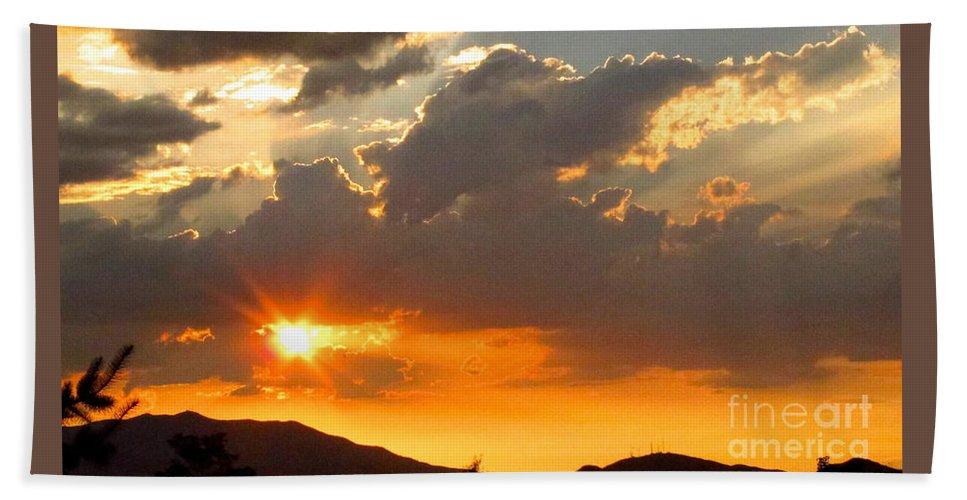 Mountains Bath Sheet featuring the photograph Rainey Sunset by Phyllis Kaltenbach