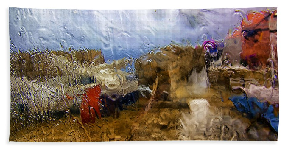 Rain Bath Sheet featuring the photograph Rainy Day Abstract 3 by Madeline Ellis