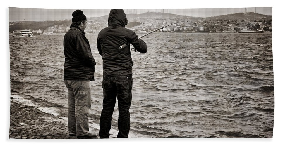 Men Hand Towel featuring the photograph Rainy Day Fishing by Joan Carroll