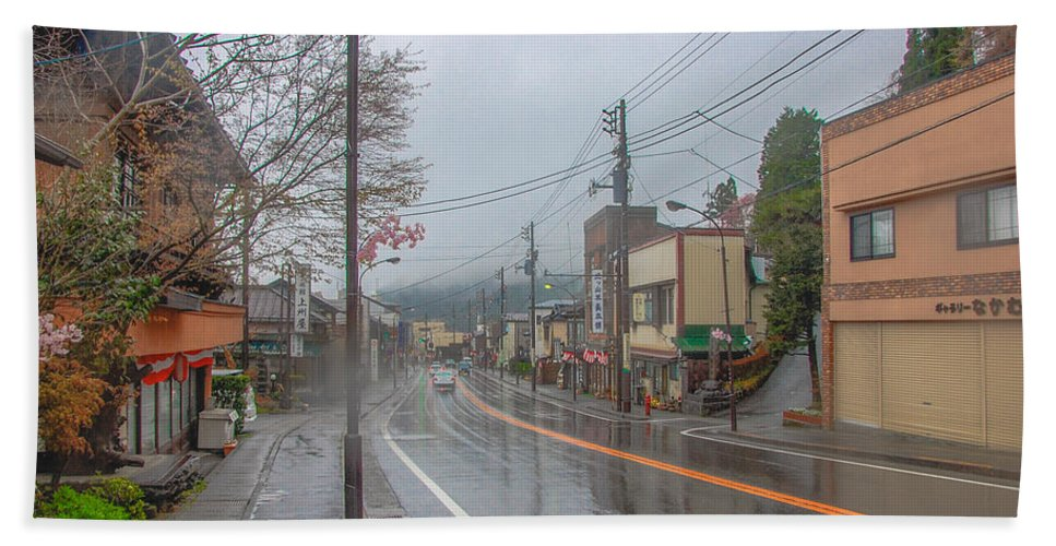 Cityscape Hand Towel featuring the photograph Rainy Day Nikko by Jonah Anderson