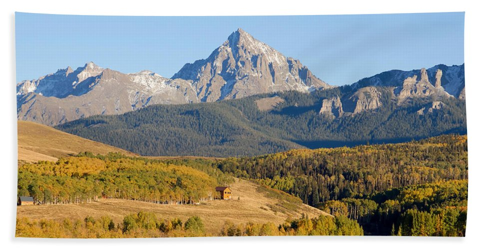 Fine Art Photography Bath Sheet featuring the photograph Ranching The Sneffels by David Lee Thompson