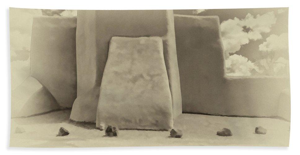 Santa Bath Sheet featuring the photograph Ranchos Church Antique Plate by Charles Muhle