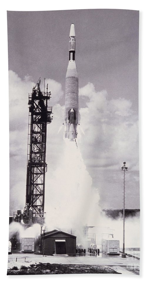 Rocket Hand Towel featuring the photograph Ranger 7 Launch by Science Source