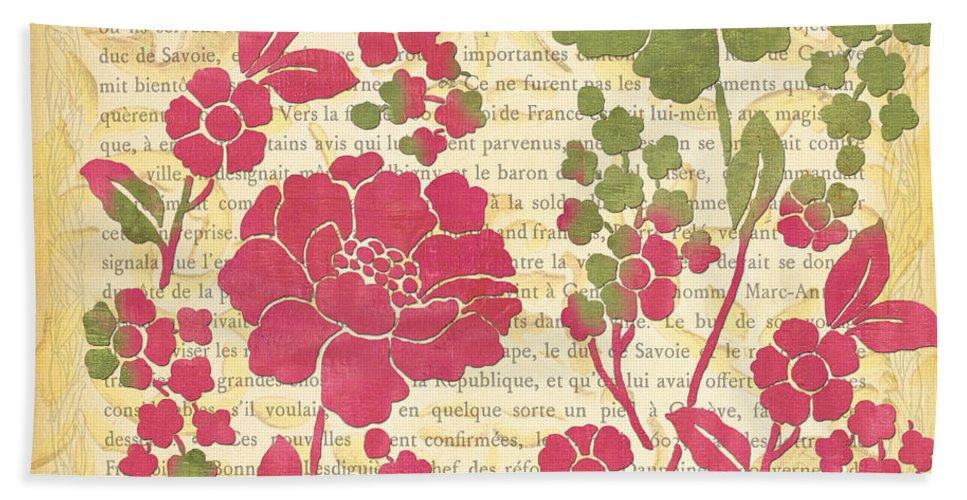 Raspberry Bath Sheet featuring the painting Raspberry Sorbet Floral 2 by Debbie DeWitt