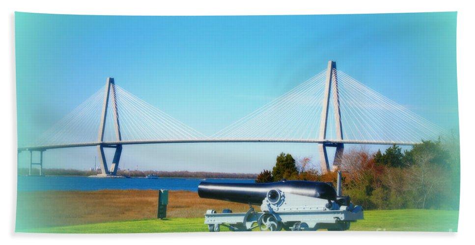Ravanel Bridge Hand Towel featuring the photograph Ravanel Bridge At Patriot Point Charleston Sc by Susanne Van Hulst