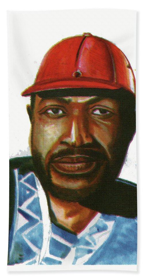 Portraits Bath Sheet featuring the painting Ray Lema by Emmanuel Baliyanga
