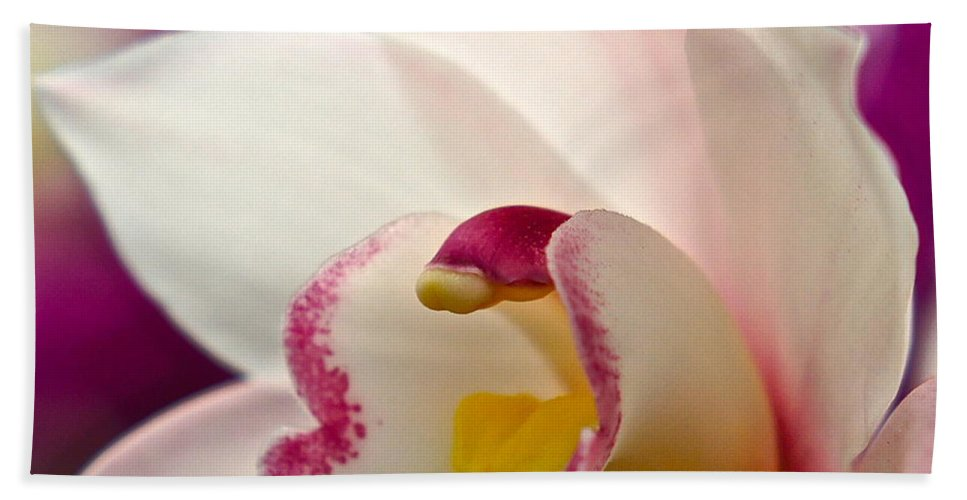 Orchid Macro Bath Sheet featuring the photograph Ready And Willing by Byron Varvarigos
