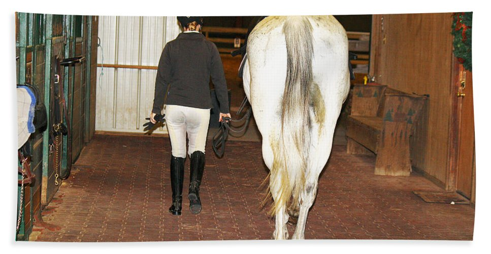 Roena King Bath Sheet featuring the photograph Ready For The Dressage Lesson by Roena King