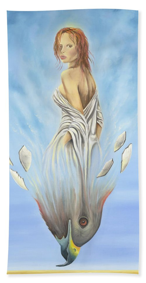 Woman Bath Sheet featuring the painting Rebirth Of A Woman - Ascension by Teresa Gostanza