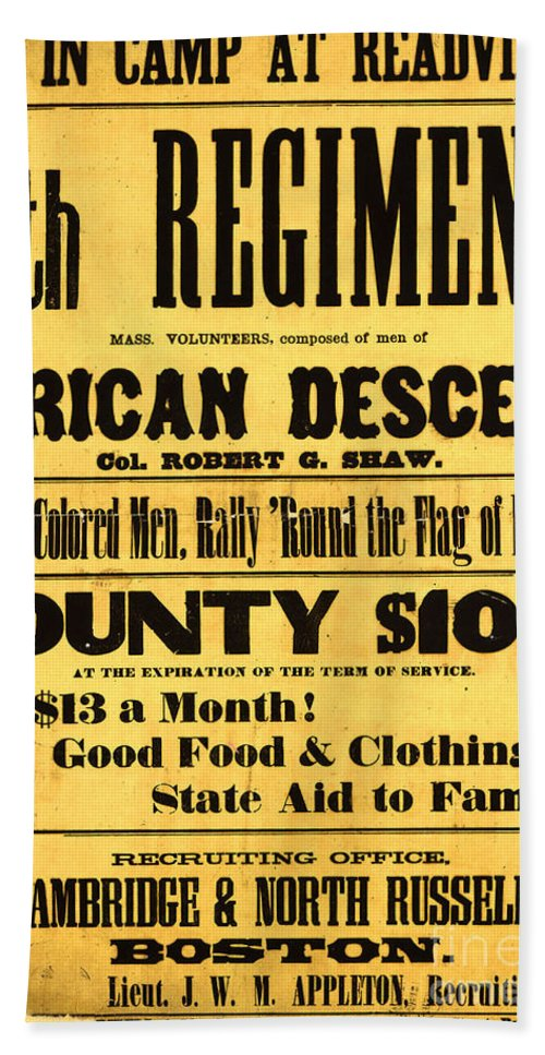 History Hand Towel featuring the photograph Recruiting Poster, 1863 by Photo Researchers