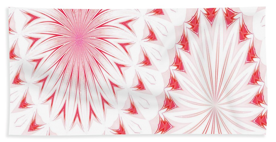 Abstract Bath Sheet featuring the photograph Red And White by Anne Kitzman