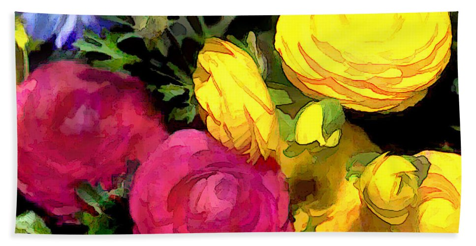 Ranunculus Hand Towel featuring the painting Red And Yellow Ranunculus Flowers by Elaine Plesser