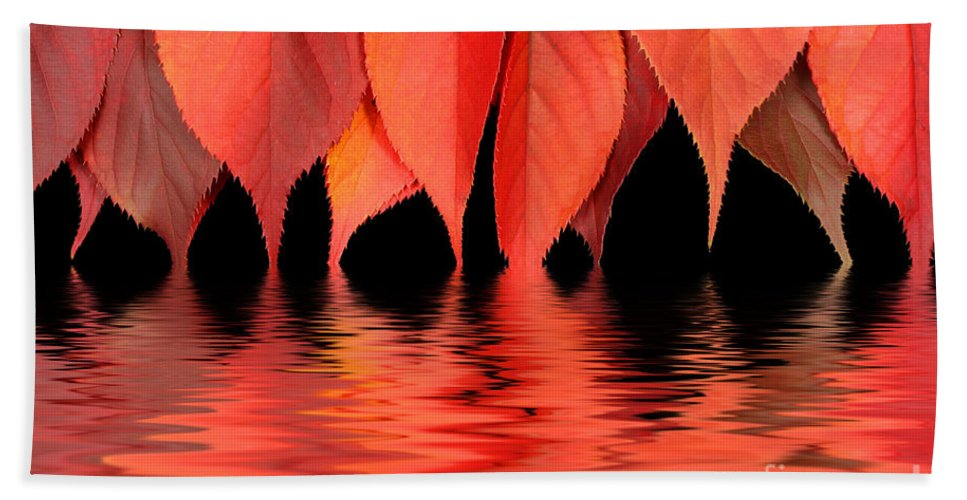 Flames Hand Towel featuring the photograph Red Autumn Leaves In Water by Simon Bratt Photography LRPS