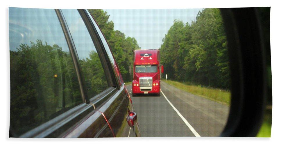 Transportation Bath Sheet featuring the photograph Red Big Truck Behind by Ausra Huntington nee Paulauskaite