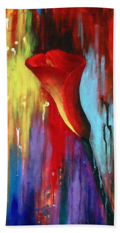 Red Hand Towel featuring the painting Red Calla Lily by Kume Bryant