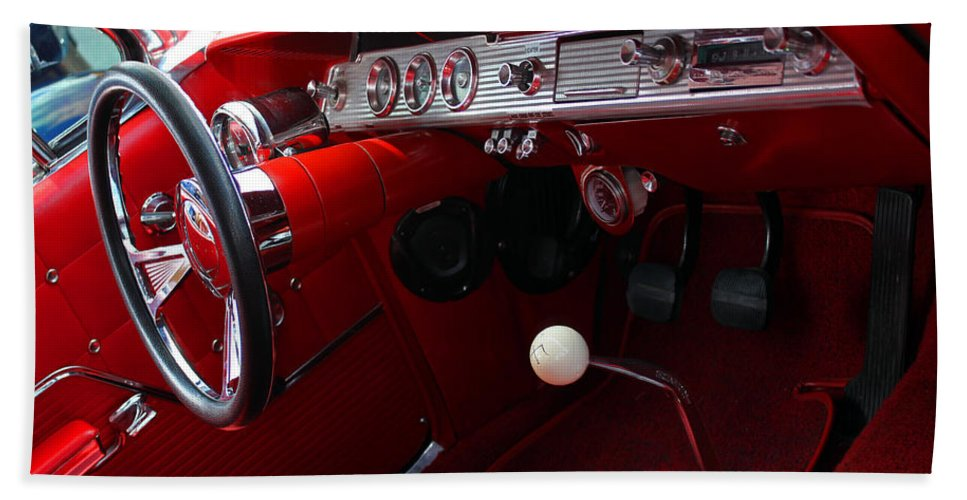 Classic Hand Towel featuring the photograph Red Chevy Impala by Carolyn Stagger Cokley