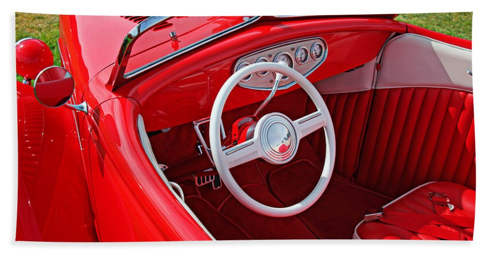 Red Classic Car Bath Sheet featuring the photograph Red Classic Car by Garry Gay