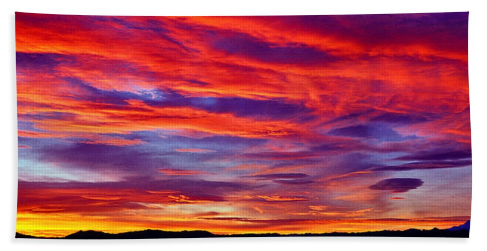 Red Clouds Bath Sheet featuring the photograph Red Clouds Dawn With Mount Rainier by Tim Rayburn