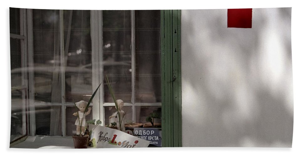 Serbia Belgrade Bath Sheet featuring the photograph Red Cross. Belgrade. Serbia by Juan Carlos Ferro Duque