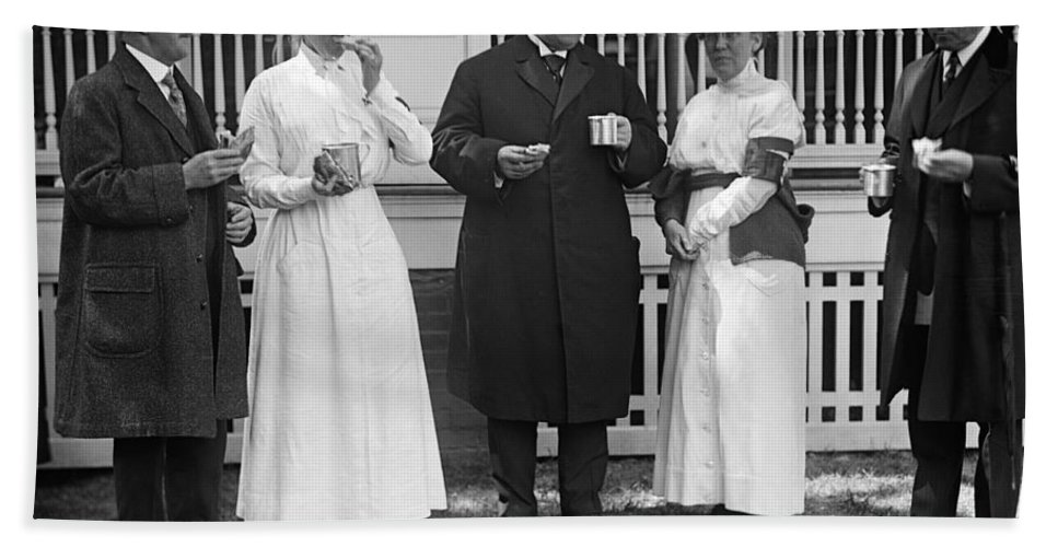 1917 Bath Sheet featuring the photograph Red Cross Luncheon, 1917 by Granger