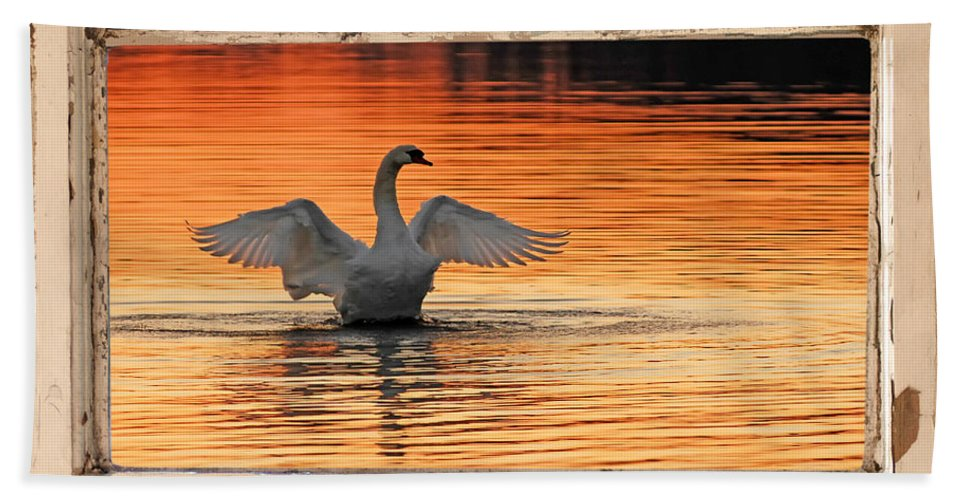 Swan At Red Dawn Hand Towel featuring the photograph Red Dawn Swan Framed In Old Window Frame by Randall Branham