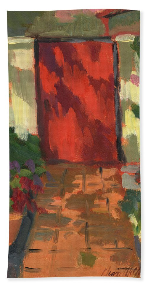 Red Door Hand Towel featuring the painting Red Door - Shadow And Light by Diane McClary