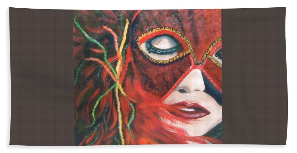 Mardi Gra Hand Towel featuring the painting Red Flare by Julie Cranfill
