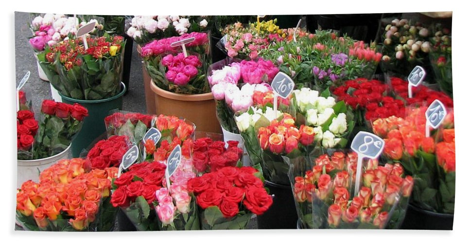 Flower Bath Sheet featuring the photograph Red Flowers In French Flower Market by Carla Parris