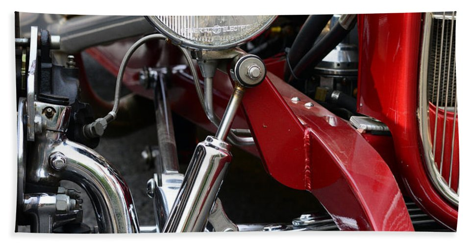 Chrome Bath Sheet featuring the photograph Red Hot Rod- Light And Chrome by Paul Ward