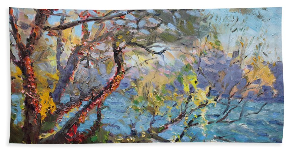 Autumn Bath Towel featuring the painting Red Leaves by Ylli Haruni