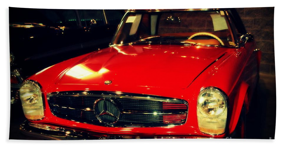 Mercedes Hand Towel featuring the photograph Red Mercedes Sl by Susanne Van Hulst