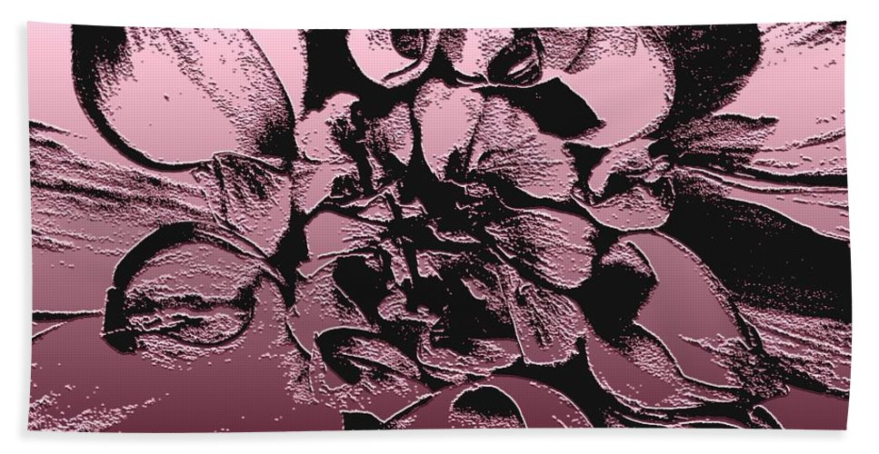 Dahlia Bath Sheet featuring the digital art Red Metallic Dahlia Named Who Dun It by J McCombie