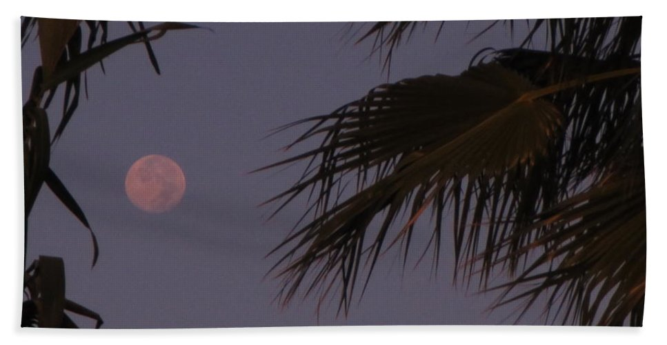 Moon Hand Towel featuring the photograph Red Moon by John Malone