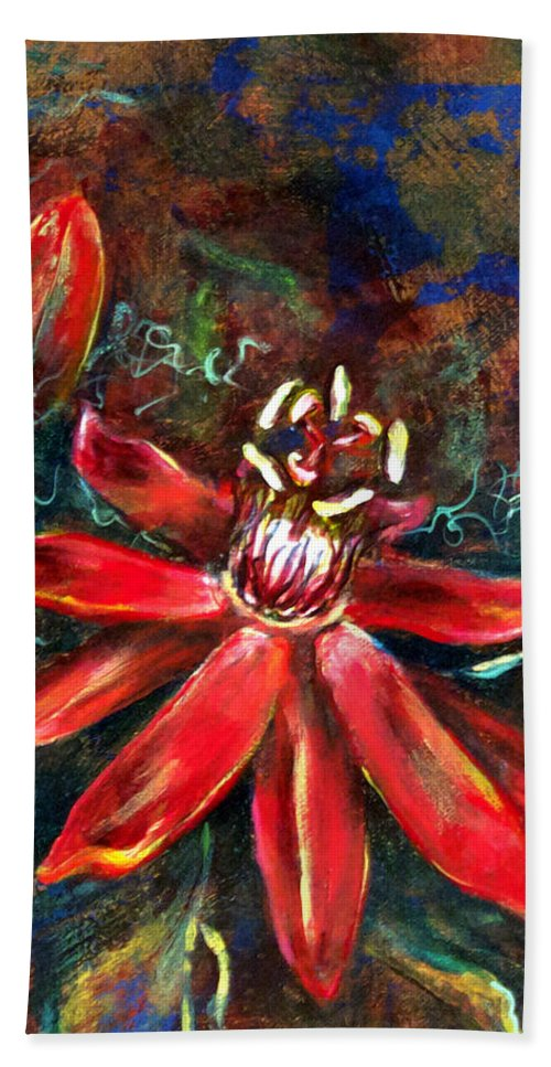 Floral Bath Towel featuring the painting Red Passion by Ashley Kujan