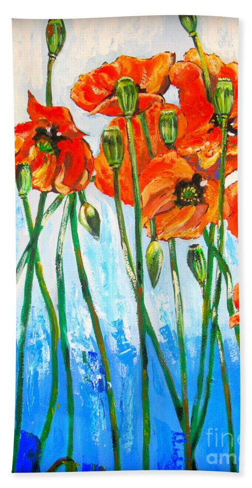 On A Blue Background Red Poppies Bath Sheet featuring the painting Red Poppies by Tatjana Andre