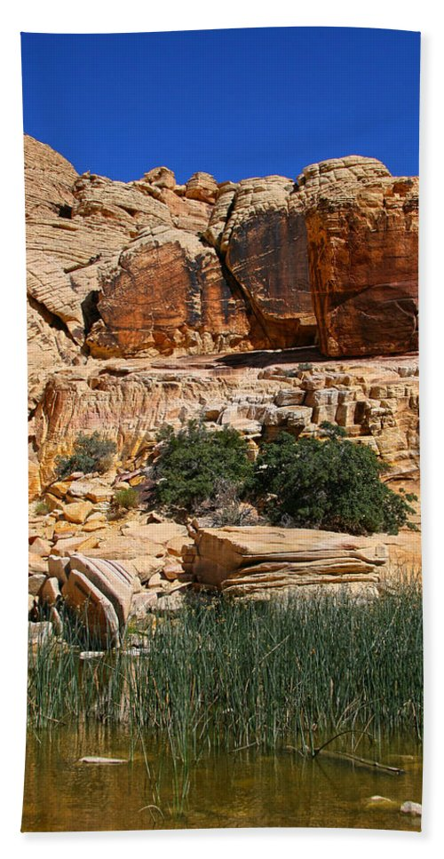 Red Rock Canyon Hand Towel featuring the photograph Red Rock Canyon The Tank by Chris Brannen